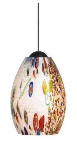 LBL Lighting - LBL Lighting Mini-Monty Opal 50W Monopoint 1 Light Track Pendant - LBL Lighting Mini-Monty Opal 50W Monopoint 1 Light Track PendantSwirling with textures and colors, this exquisitely colorful pendant showcases genuine Italian Murano mouth-blown Opal glass with millefiore glass fusion and silver flakes. An included 50 watt xenon lamp provides ample light and shows off the intricately made glass nicely.Each Monopoint lighting fixture includes a single-point canopy with built-in transformer right out of the box for a quick and easy installation.LBL Lighting Mini-Monty Opal 50W Monopoint Features: