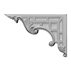 "Ekena Millwork - 9""W x 6 1/4""H x 5/8""D Nestor Stair Bracket, Left - With the beauty of original and historical styles, decorative stair brackets add the finishing touch to stair systems.  Manufactured from a high density urethane foam, they hold the same type of density and detail as traditional plaster stair bracket products.  They come factory primed and can be easily installed using standard finishing nails and/or polyurethane construction adhesive."