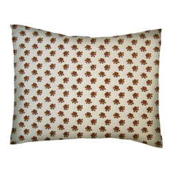 SheetWorld - SheetWorld Twin Pillow Case - Percale Pillow Case - Brown Dog Paws - Made in USA - Twin Pillow Case. Made of an all cotton percale fabric. Features a Brown Dog Paws print.