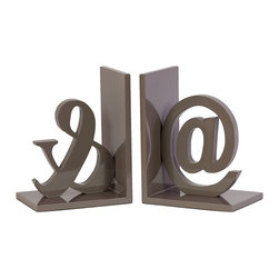 Type Bookends in Gray - Rethink the bookshelf. Add a little fun to the modern mix with these Type Bookends. They give a spunky graphic nod to the designer in your life. Corral fashion, art, and design books on the shelf with these playful pieces.