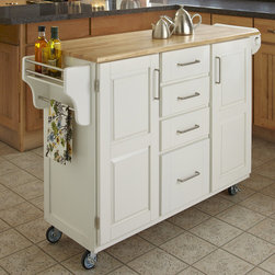 """Home Styles - Kitchen Cart - This kitchen island cart features solid wood construction, heavy duty casters, concealed storage, and so much more! Features: -MDF insert panels for increased strength.-Four storage drawers with metal drawer suspensions.-Enclosed storage inside cabinet doors.-Brushed chrome pulls.-Adjustable condiment or spice caddy.-Adjustable towel bar.-Heavy duty casters, with front casters locking.-Solid wood construction.-Wood top in natural finish.-Product Type: Kitchen Cart.-Collection: Create-a-Cart.-Counter Finish: Natural.-Hardware Finish: Brushed Steel.-Distressed: No.-Powder Coated Finish: No.-Gloss Finish: No.-Base Material: Wood.-Counter Material: Wood.-Hardware Material: Brushed Steel.-Solid Wood Construction: Yes.-Number of Items Included: 1.-Water Resistant or Waterproof Cushions: No.-Stain Resistant: No.-Warp Resistant: No.-Exterior Shelves: No.-Drawers Included: Yes -Number of Drawers: 4.-Push Through Drawer: No..-Cabinets Included: Yes -Number of Cabinets : 2.-Double Sided Cabinet: No.-Adjustable Interior Shelves: Yes.-Number of Doors: 2.-Locking Doors: No.-Door Handle Design: Linear pulls..-Towel Rack: Yes -Removable Towel Rack: No..-Pot Rack: No.-Spice Rack: Yes .-Cutting Board: No.-Drop Leaf: No.-Drain Groove: No.-Trash Bin Compartment: No.-Stools Included: No.-Casters: Yes -Locking Casters: Yes.-Removable Casters: No..-Wine Rack: No.-Stemware Rack: No.-Cart Handles: No.-Finished Back: Yes.-Commercial Use: No.-Recycled Content: No.-Eco-Friendly: No.-Product Care: Clean with a damp cloth.Specifications: -ISTA 3A Certified: Yes.Dimensions: -Overall Height - Top to Bottom: 35.5"""".-Overall Width - Side to Side: 48"""".-Overall Depth - Front to Back: 17.75"""".-Width Without Side Attachments: 44.5"""".-Height Without Casters: 31.75"""".-Countertop Thickness: 0.75"""".-Countertop Width - Side to Side: 44.5"""".-Countertop Depth - Front to Back: 17.75"""".-Shelving: -Shelf Width - Side to Side: 12.5"""".-Shelf Depth - Front to Back: 12.75""""..-Leaf: No.-Drawer: -Dr"""