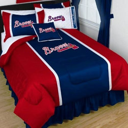 Sports Coverage - MLB Atlanta Braves Sidelines Bedding - Complete Set - Twin w/ 1 Sham - Save big and show your MLB team spirit with Sidelines Atlanta Braves Bedding Set, including the Comforter, Sheet set, Pillow sham and Bed skirt! This Comforter is made from 100% Polyester Jersey Mesh - just like what the players wear. The fill is 100% Polyester batting for warmth and comfort. Authentic team colors and logo screen printed in the center.   Microfiber Sheet Hem sheet sets have an ultrafine peach weave that is softer and more comfortable than cotton.  Its brushed silk-like embrace provides good insulation and warmth, yet is breathable.  The 100% polyester microfiber is wrinkle-resistant, washes beautifully, and dries quickly with never any shrinkage. The pillowcase has a white on white print beneath the officially licensed team name and logo printed in vibrant team colors, complimenting the NEW printed hems. The Teams are scoring high points with team-color logos printed on both sides of the entire width of the extra deep 4 1/2 hem of the flat sheet.    2 flanged edge that decorates all four sides of each Pillow sham. Made of 100% polyester jersey mesh, just like the players wear.  Bedskirt available in team color with no team logo printed on them.  Includes:  -  Comforter - Twin 66 x 86, Full/Queen 86 x 86,    -  Flat Sheet - Twin 66 x 96, Full 81 x 96, Queen 90 x 102.,    - Fitted Sheet - Twin 39 x 75, Full 54 x 75, Queen 60 X 80,    -  Pillow case Standard - 21 x 30,    - Pillow Sham - 25 x 31,    -  Bedskirt - Twin 76 x 39, Full 76 x 54, Queen 80 x 60 ,