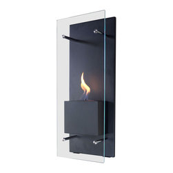 "Bluworld Nu-Flame - Cannello Wall-Mounted Ethanol-Burning Fireplace - ""Cannello"", Italian for candle, is much more than it's name implies. Cannello is a sleek new ethanol burning wall torch. Perfect by itself, but even better as a pair flanking a doorway or lining a hall, the Cannello is a beautiful way to add luxury and warmth. The colorful flames are accentuated against the classic black frame and the tempered glass windscreen is supported by stainless steel standoffs... beautiful and functional. Easily adjust the flame height or extinguish it completely with the provided dampener tool. This open ultra modern design allows the beauty and colors of the flames to be enjoyed by everyone. Relax and unwind as you watch the fascinating flames. Perfect for any setting. For indoor use only."