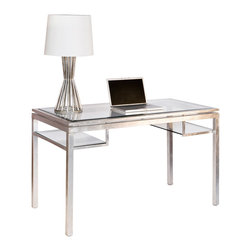 Worlds Away - Worlds Away Brentwood Silver Leaf Desk - The Worlds Away Brentwood desk elicits distinctly sophisticated allure. Accenting shimmering silver legs, beveled mirror lends the rectangular surface and two shelves compelling visual interest. Made from iron; Silver leaf finish; Beveled glass top and shelves