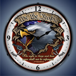 US Clock - We the People Lighted Wall Clock 14 x 14 Inches - -Best backlit clock on the market