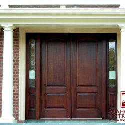 """Our Projects in New York & New Jersey. - Straight Top, Genuine Honduran Mahogany Door. Measures are 74"""" wide x 96"""" height x 2 1/4"""" thick. Each sidelite is 12"""" wide."""