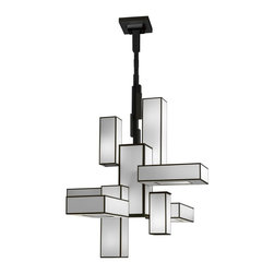 Fine Art Lamps - Black and White Story 732040 Chandelier - Black and White Story 732040 Chandelier features a satin lacquered finish available in Black or White with laminated shades of White crepe with black trim.  Requires twelve 15 watt 2700K 120 volt GU24 compact fluorescent lamps, not included. Dimensions: 46 inch width x 39 inch depth x 52 inch height. 60 inch minimum to 121 inch maximum overall height. Requires a special rated junction box for fixtures weighing over 50 pounds.