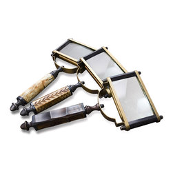 Kathy Kuo Home - Alcobaca Bone and Horn Square Table Top Magnifying Glasses- Set of 3 - The Alcobaca Magnifying Glasses are the perfect functional tabletop decoration.  Put them on display in your home library or study where the antique brass and natural bone elements are sure to accent the existing decor.  The unique square glass lenses can be used to examine those hard-to-read texts, making for a set of items that is both useful and decorative.