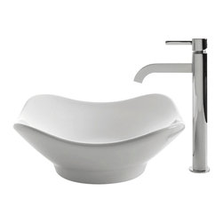 Kraus - Kraus C-KCV-135-1007CH White Tulip Ceramic Sink and Ramus Faucet - Add a touch of elegance to your bathroom with a ceramic sink combo from Kraus