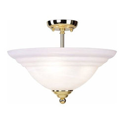 Livex Lighting - Polished Brass Semi-Flush - -Alabaster Glass Livex Lighting - 4258-02