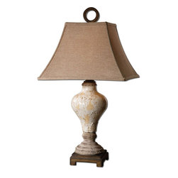 Uttermost - Fobello Ivory Table Lamp - Distressed, Crackled Ivory Ceramic With Tan Undertones, Rustic Accents And Dark Bronze Details. The Square Bell Shade Is A Rusty Linen Fabric.