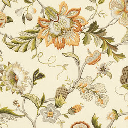 "Ballard Designs - Augustine Amber Fabric by the Yard - Content: 55% linen 45% rayon. Repeat: Non-railroaded fabric with 27"" repeat. Care: Dry clean. Width: 54"" wide. Richly detailed Jacobean floral printed to resemble crewel embroidery on soft linen blend. . . . . Because fabrics are available in whole-yard increments only, please round your yardage up to the next whole number if your project calls for fractions of a yard. To order fabric for Ballard Customer's-Own-Material (COM) items, please refer to the order instructions provided for each product. Ballard offers free fabric swatches: $5.95 Shipping and Processing, ten swatch maximum. Sorry, cut fabric is non-returnable."
