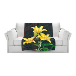 DiaNoche Designs - Fleece Throw Blanket by Paul Cadieux - Midnight Lillies - Original Artwork printed to an ultra soft fleece Blanket for a unique look and feel of your living room couch or bedroom space.  DiaNoche Designs uses images from artists all over the world to create Illuminated art, Canvas Art, Sheets, Pillows, Duvets, Blankets and many other items that you can print to.  Every purchase supports an artist!