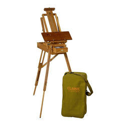 Martin Universal - Jullian Classic Half-Size French Sketch Box Easel Multicolor - 92-CLASSIC/P - Shop for Art Easels from Hayneedle.com! The Jullian Classic Half-Size French Sketch Box Easel is a versatile artist's assistant that you'll wonder how you ever worked without. Made of natural oiled hardwood this adjustable sketchbox easel features a built-in drawer with 4 adjustable sections a full-size folding palette and imminently useful wet canvas carrier feature. The adjustable legs easily change from standing to table height and the versatile canvas support moves from flat to beyond the vertical. Supporting up to a 34-inch-high canvas (3.5-inch minimum) it's a lightweight and easy solution for a wide range of projects. A classic Jullian canvas carry bag with strap is included. Maximum dimensions: 24W x 28D x 73H inches.About Martin Universal/F. Weber Co.For a century and a half the name Martin Universal and F. Weber Co. have been synonymous with quality art materials. Established in 1853 in Philadelphia Pa. the Martin/Weber is the oldest and one of the largest manufacturers of art materials in the United States.