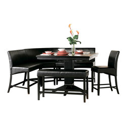 Homelegance - Homelegance Papario 6-Piece Counter Dining Room Set in Black - The need for flexibility is fulfilled with the Papario collection. With multiple configuration possibilities, the black finished counter height nook set provides the style and function your space needs. Made of select hardwoods and veneers, covered in black bi-cast vinyl.