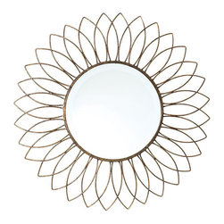 Wire Sun Mirror - This Wire Sun Mirror makes a vibrant visual treat for the lovers of prolific and abstract art designs. Part of our French country chic collection, it has a sturdy and superior-quality built. It features a well-made and intricately created wire design that lends a sunflower-shape outlook to the mirror.