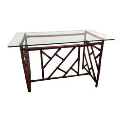 """Used Rattan Chippendale Style Desk with Glass Top - Rattan desk base with classic Chippendale lines topped with heavy glass. Use this piece as a desk, in your entry way or as a dining table for four. A great neutral piece, but would look lovely refinished in a bright shade as well. Glass thickness measures .5""""."""