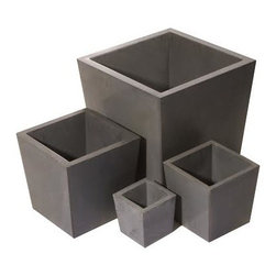 "Hart Concrete Design - Mex Pots in Grey, 30"" - The Mex Pots are handmade to order in the United States by Hart Concrete Design. They feature a unique slightly tapered design and look great both indoors and outdoors."