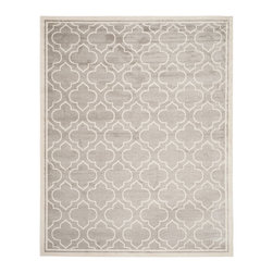 Safavieh - Roberto Indoor/Outdoor Rug, Light Grey / Ivory 8' X 10' - Construction Method: Power Loomed. Country of Origin: Turkey. Care Instructions: Easy To Clean. Just Rinse With A Garden Hose. Coordinate indoor and outdoor living spaces with fashion-right Amherst all-weather rugs by Safavieh. Power loomed of long-wearing polypropylene, beautiful cut pile Amherst rugs are made to stand up to tough outdoor conditions, but designed with the aesthetics of indoor rugs. Use these family-friendly geometric designs on patios, in kitchens, busy family rooms and other high traffic rooms.