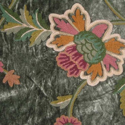 """Crewel Fabric World by MDS - Crewel Fabric Shalimar Dark Green Cotton Viscose Velvet- Yardage - Inspiration: Shalimar is a pattern inspired by the beautiful gardens built by Shah Jahan the Mughal Emperor who built Taj Mahal. The word Shalimar means """"Abode of love"""", """"HoUse of Joy""""."""