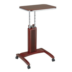 "Office Star Products - Precision Laptop Stand in Light Cherry Finish - Adjustable Height From 27"" to 36"", Unique patented easy to use height adjustment mechanism, User has ability to work from seated or standing position, Made from select solid wood and wood veneers finished in light cherry, Casters for ease of mobility with 2 locking for stability, Overall Dimensions 20 x 17 x 27"" 36""H, Patent Pending.; Color: Cherry; Adjustable Height From 27"" to 36""; Unique patented easy to use height adjustment mechanism; User has ability to work from seated or standing position; Made from select solid wood and wood veneers finished in light cherry; Casters for ease of mobility with 2 locking for stability; Patent Pending.; Dimensions: 20""W x 17""D x 27 - 36""H"