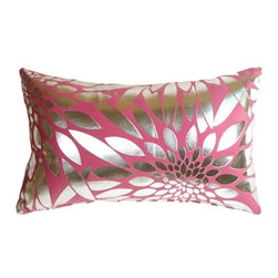 Pillow Decor Ltd. - Pillow Decor - Metallic Floral Pink Rectangular Throw Pillow - Made from a durable, high quality fabric, this is the perfect throw pillow for any room in need of some colorful punctuation. The base fabric is a soft microfiber, while the floral shapes are a smooth reflective silver.