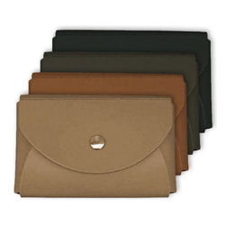 "Bambeco Recycled Leather Envelope Business Card Holder - Make an eco-conscious statement when handing out business cards with this recycled leather card holder. This case is made of recycled leather remnants that would have otherwise gone to a landfill. The coating is a pure aqueous based finish, without the use of solvents. Available colors: Black, Dark Brown, Cognac, Tan Suede. Dimensions: 3.75""L x 2.5""W."