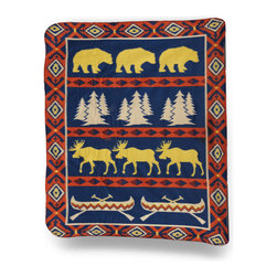 Zeckos - Cozy Moose and Bear Wildlife Fleece Throw Blanket 50 In. x 60 In. - Keep out the chill curled up on the couch or hanging around the campfire with this soft cozy fleece throw blanket. It features a blue, red and yellow allover pattern of a bear, moose, mountain pine trees, canoes and a southwestern pattern print providing a perfect complement to outdoorsy decor. The blanket measures 60 inches (5 feet) long, 50 inches (4.2 feet) wide, and the edges are finished with a blanket stitch. It is constructed of 100% recycled materials, and is machine washable. It makes a great birthday, holiday or anytime gift that is sure to be loved