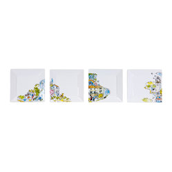 Working Class Studio - Un Petit Tour De Lacoste - Ceramic Plate Set of 4 - Visited any cool dinnerware lately? The illustrations on these playful square plates depict the sights and sounds of Lacoste, France in bright colors, perfect for the casually eclectic dining spot in your home.