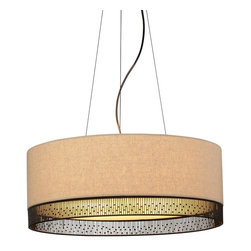 LBL Lighting - LBL Lighting Hollywood Beach 75W Modern / Contemporary Drum Pendant Light X-D2ZB - Nearly identicle to the other large Hollywood Beach  pendant lighting fixture, this one offers a higher wattage. Still offering the modern and contemporary elegance of the other members of the product family, this fixture boasts a large fabric lined drum with hand crafted wire detail and an opal glass diffuser. The wire accents of this piece resemble the bamboo of Asian motifs, beads of a 1920s motif, and lanterns of a Hollywood beach retreat. Fitting in with many different design motifs and is sure to compliment any design space with its simple elegance.