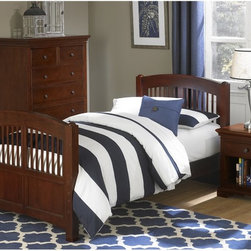 NE Kids - Walnut Street Hayden Spindle Twin Bed - Chestnut - FUB550 - Shop for Beds from Hayneedle.com! Combining classic style elements with the finest modern storage solutions the Hayden Spindle Bed Chestnut is a piece your child can't go without. This handsome platform bed features a sturdy frame made from a combination of fine poplar hardwood solids and select veneers. An optional trundle or two roomy pull-out drawers are offered with the bed. A rich chestnut finish completes the look complemented by the slatted head- and footboard and the oil-rubbed bronze finish of the solid iron drawer pulls. The piece has a complete slat system and requires no box spring.About New Energy Kids NE Kids is a company with a mission: to create and import truly unique furniture for your child. For over thirty years they've been accomplishing this mission with flying colors one room at a time. Not only will these products look fabulous they will provide perfect safety for your children by adhering to the highest standards set by the American Society for Testing and Material and the Consumer Products Safety Commission. Your kids are in the best of hands and everyone will appreciate these high-quality one-of-a-kind pieces for years to come.