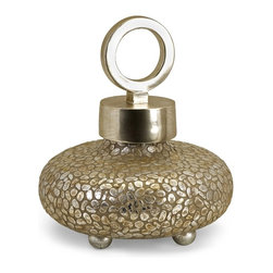 Round Silver Pebbles Lidded Vase - *Silvered pebbles and plated bands of trim with a ringed top elevate the simplest of things to dramatic contemporary statements on texture, and shape.