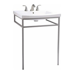 "KOHLER - KOHLER K-2526-F64 Persuade Console Table in Shale - KOHLER K-2526-F64 Persuade Console Table in ShaleThe Persuade 24"" console table offers a contemporary alternative to traditional pedestal lavatories with the added benefit of three integrated towel bars. Coordinates with the Persuade Ensemble.KOHLER K-2526-F64 Persuade Console Table in Shale, Features:• 24""L  x 21-1/2""W  x 31-1/2""H"