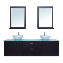 "Stufurhome - 72"" Luna Double Sink Vanity with Glass Top - Adds contemporary flair to any space"