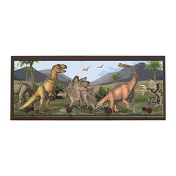 illumalite Designs - Dino Plaque Coat Rack with Pegs - This dinosaur themed plaque is the perfect addition to any boy's room. Measuring 10.25 in. by 25 in., this plaque is the ideal size to add a fun touch to any wall. Features 4 painted wooden pegs to hold anything from coats to keys. The hand painted brown colored border highlights the beautiful design