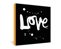 DENY Designs - Kal Barteski Love Black Gallery Wrapped Canvas - Love shines forth from the dark in this uplifting contemporary statement piece from artist Kal Barteski. The freehand brush script and casual ink splatters give a relaxed, optimistic feel to the bold message of love that stands out against the black background. The dye-printed canvas is bordered in a warm yellow-gold.