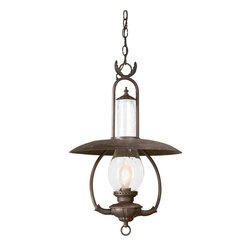 """Troy Lighting - Troy Lighting FCD9013OBZ Old Bronze La Grange 1 Light 27 Outdoor Lantern Pendant - Metalwork: Hand-Forged Iron Glassware: Clear Seeded (CD) 1 - 100W Medium Base (Not Included) 16""""W 26 1/2""""H Chain Hung Fixtures come with 4 Feet of Chain and 10 Feet of Wire"""