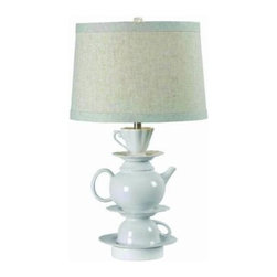Kenroy Home - White Bedside Lamp: Teatime 26 in. White Table Lamp 32170WH - Shop for Lighting & Fans at The Home Depot. Casually elegant and a little quirky. Teatime is a charming stack of familiar serving pieces. Held stylishly together by a contemporary Gloss White finish, Teatime is perfect for a kitchen nook or coffee bar.