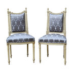 "Consigned Antique Italian Louis XVI-Style Chairs, Pair - Pair of 19th-century Italian carved wood side chairs in the Louis XVI style. All in the original condition, off white polychrome paint showing the age imperfections, and new satin steel gray upholstery, chairs are very sturdy. Seat, 17.5""H."