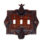Hickory Manor House - Pineapple Triple Switch Plate in Napoleon Fin - Vintage original. Custom made by artisans unfortunately no returns allowed. Enhance your decor with this graceful switch plate. Made in the USA. Made of pecan shell resin. Weight: 1 lb.