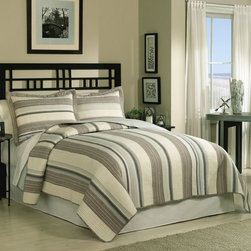 Retro Chic - East Hampton Quilt Set Multicolor - QS8063FQ-2320 - Shop for Home Furnishings and Accents from Hayneedle.com! The East Hampton Quilt Set is a true classic. This coastal quilt is casual and refined with horizontal strips of brown tan and blue. Enjoy this look in your choice of bed sizes complete with matching pillow shams.Comforter Dimensions:Twin: 86L x 68W in.Queen: 86L x 86W in.King: 90L x 100W in.About Pem AmericaMakers of high-quality handcrafted textiles Pem America Outlet specializes in bedding that enhances your comfort and emphasizes the importance of a good night's rest. Quilts comforters pillows and other items for the bedroom are made with care and craftsmanship by Pem America. Their products cover a wide range of materials styles colors and designs all made with long-lasting quality construction and soft long-wearing materials. Details like fine stitching embroidery and crochet decorations and reinforced seaming make Pem America bedding comfortable and just right for you and your family.