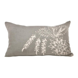 Cricket Radio - Indochine Paradise Bouquet Pillow, Stone/Tan - Sink into soft, classic style with this pillow hand-printed on pre-shrunk Italian linen. It features soft colors, ecofriendly inks, and a down insert that can be removed for cleaning. At 12 by 20 inches, it's a perfect addition to your bed, bench or sofa.