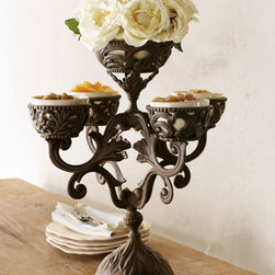 "GG Collection - GG Collection Epergne - Exclusively ours. Display fruit, nuts, and other small treats in this handcrafted, cast-aluminum epergne with cream ceramic cups. Ceramic cups are dishwasher safe; hand wash metal piece. 16""Dia. x 22""T with 8.5""Dia. base. Imported."