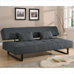 Coaster - Coaster Contemporary Armless Sofa in Grey - Coaster - Convertible Sofas - 300137 - With a fantastic look as an armless sofa you will love the contemporary style and functionality this sofa adds to your home. Comfortable as a sofa or converted to a sofa bed for your overnight guests this sofa futon offers a comfortable double-size bed. The tufted seat and sleek metal legs add style. The sofa bed includes two matching accent pillows.