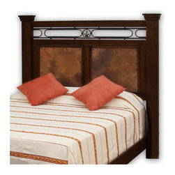 """Artisan Home Furniture - Valencia Distressed Panel Headboard - Features: -Hand hammered and fired real copper panels.-Hand forged iron scroll.-Pine solids, real copper and iron construction.-Valencia collection.-Gloss Finish: Yes.-Frame Material: Pine solids / copper / iron.-Finish: Dark brown / distressed lacquer.-Hardware Material: Antique forged metal.-Non Toxic: Yes.-Scratch Resistant: No.-Joinery Type: Mortise and tenon.-Adjustable Height: No.-Lighting Included: No.-Wall Mounted: No.-Reversible: No.-Media Outlet Hole: No.-Built In Outlets: No.-Hardware Finish: Antique forged.-Finished Back: Yes.-Distressed: Yes.-Hidden Storage: No.-Freestanding: No.-Frame Required: Yes.-Frame Included: No.-Drill Holes for Frame: Yes.-Swatch Available: No.-Eco-Friendly: No.-Product Care: Wipe clean with a dry cloth.-Commercial Use: Yes.-Recycled Content: No.Specifications: -FSC Certified: No.-EPP Compliant: No.-CPSIA or CPSC Compliant: No.-CARB Compliant: Yes.-JPMA Certified: No.-ASTM Certified: No.-ISTA 3A Certified: No.-PEFC Certified: No.-General Conformity Certificate: No.-Green Guard Certified: No.Dimensions: -Overall Height - Top to Bottom (Size: King, Queen): 66.75"""".-Overall Width - Side to Side (Size: Queen): 68.25"""".-Overall Width - Side to Side (Size: King): 84.25"""".-Overall Depth - Front to Back (Size: King, Queen): 4"""".-Overall Product Weight (Size: Queen): 76 lbs.-Overall Product Weight (Size: King): 99 lbs.-Leg Height (Size: Queen): 26.5"""".-Leg Height (Size: King): 26.5"""".-Leg Width - Side to Side (Size: Queen): 66"""".-Leg Width - Side to Side (Size: King): 81.75"""".-Leg Depth - Front to Back (Size: Queen): 2.75"""".-Leg Depth - Front to Back (Size: King): 2.75"""".-Top of Headboard to Bed Frame (Size: Queen): 52.5"""".-Top of Headboard to Bed Frame (Size: King): 52.5"""".-Bottom of Headboard to Floor (Size: Queen): 29.5"""".-Bottom of Headboard to Floor (Size: King): 29.5"""".Assembly: -Assembly Required: No.-Additional Parts Required: No.Warranty: -Manufacturer provides 1 year."""