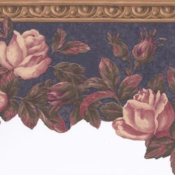 York Wallcoverings - Brown Navy Pink Roses Floral Wallpaper Border - Wallpaper borders bring color, character and detail to a room with exciting new look for your walls - easier and quicker than ever.