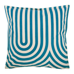 Thomas Paul - Geo/Metric 1 Canvas Pillow - Teal - Thomas Paul - The 100% cotton canvas pillow featuring a signature thomaspaul design in modern shapes and bold hues is the perfect way to kick up any room design. Place them on a couch, a chair, your bed, anywhere! Features a reversible print and hand silk-screened design. Includes down feather insert.