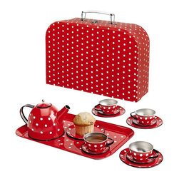Polka Dot Tin Tea Set - This little tea set is great for boys and girls all year round, but it seems extra sweet during the Valentine's season. My kids and I love our tin tea set in the summertime too, as it's great for water play on hot days.