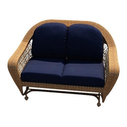 Forever Patio - Catalina Patio Rattan Double Glider, Straw Wicker, Navy Cushions - The Forever Patio Catalina Double Glider in Straw Wicker with Blue Sunbrella&Reg; Cushions (SKU FP-CAT-DG-ST-CN) features a deep-seated design and sweeping curves, making it both incredibly comfortable and stylish. The UV-protected, straw-colored wicker incorporates subtle shifts in tones, providing a look that is complex and beautiful. This chair includes fade- and mildew-resistant Sunbrella® cushions.