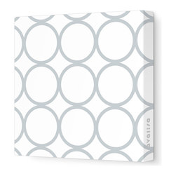 """Avalisa - Pattern - Circles Stretched Wall Art, 12"""" x 12"""", Gray - Sleek, clean, uncomplicated — if that's your style, this is your art statement. The circles motif on unframed stretched fabric is pure and simply you!"""